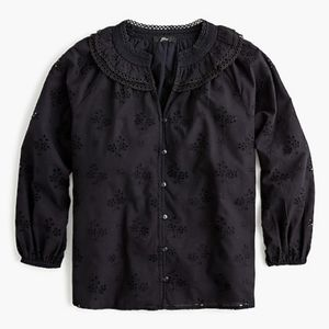 Jcrew black eyelet top